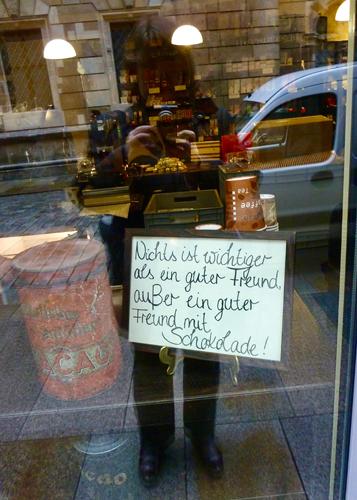 Schaufenster in Dresden, Stadt der Milchschokolade