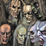 Gruselige Holzmasken