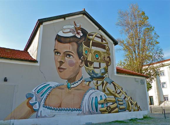 Ein romantisches Duo - Streetart in Lissabon