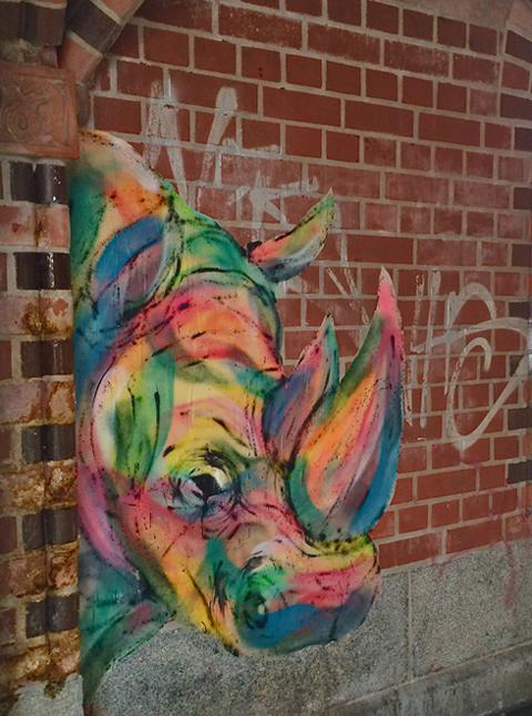 Streetart: buntes Nashorn
