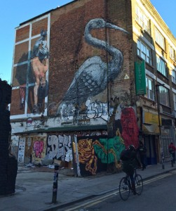 Streetart: Kranich von ROA in London