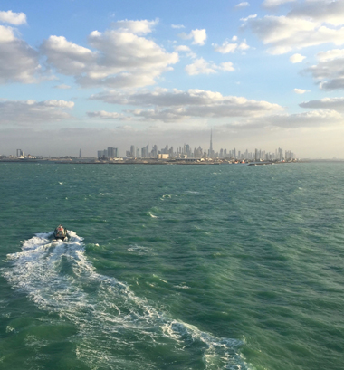Skyline von Dubai von der Aida Stella gesehen