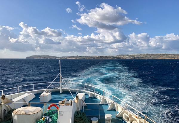 Blick zurück auf Gozo