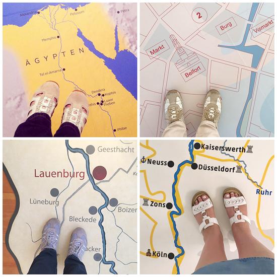 Landkarten am Boden