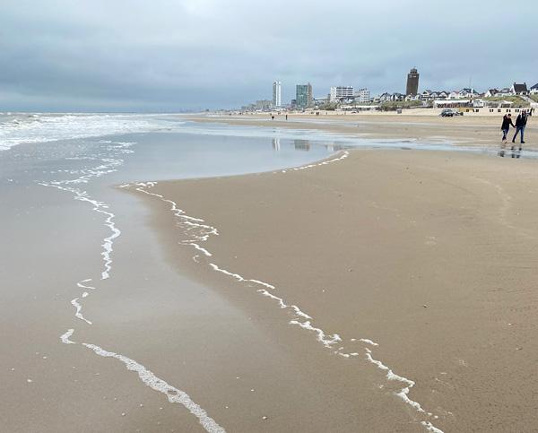 Schaum einer Welle am Strand