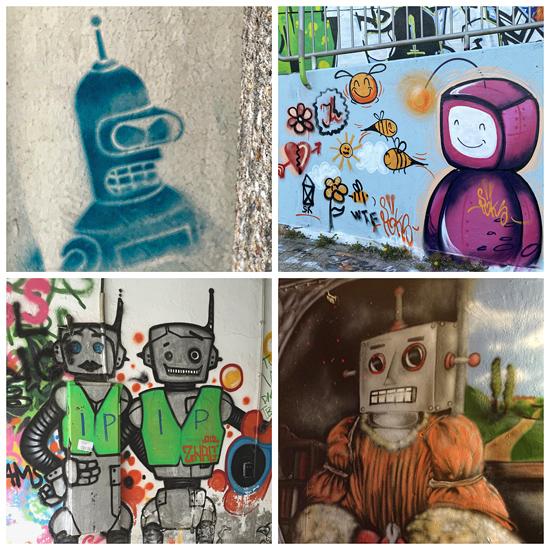 Streetart zeigt Roboter